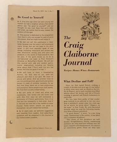 THE CRAIG CLAIBORNE JOURNAL Vol 1, No. 1. Craig Claiborne.