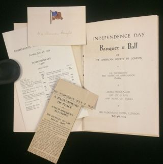 INDEPENDENCE DAY BANQUET & BALL.. MENU, PROGRAMME, LIST OF GUESTS AND PLAN OF TABLES. JULY 4th, 1939