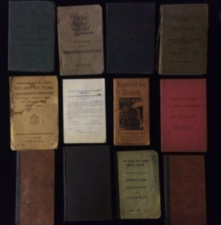 COLLECTION OF 12 RAILROAD MANUALS OF A CONDUCTOR OF CENTRAL NEW ENGLAND RAILWAY CO